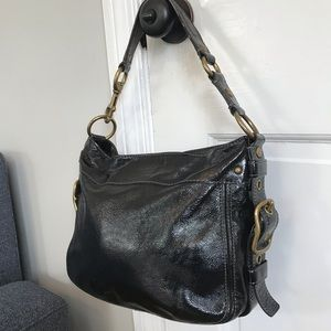 Coach Zoe Hobo in black patent leather buckle